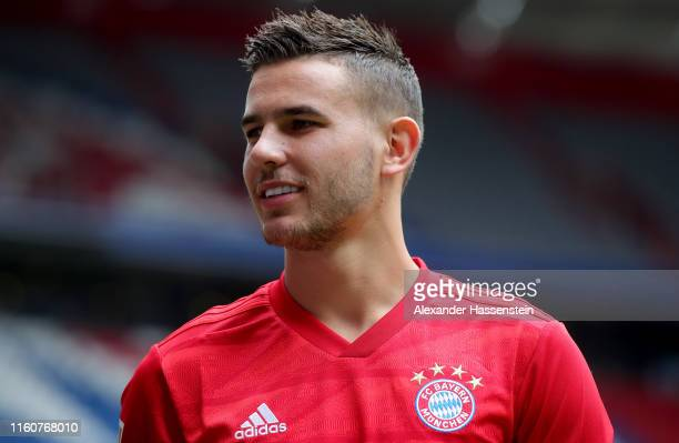 Lucas Hernandez of FC Bayern Muenchen is seen in the stadium after a press conference to present new signing Lucas Hernandez at Allianz Arena on July...
