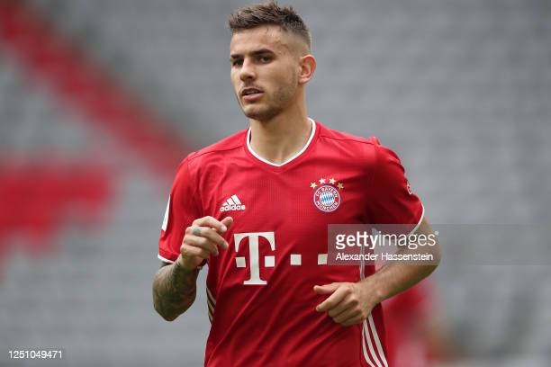Lucas Hernandez of FC Bayern Muenchen looks on during the Bundesliga match between FC Bayern Muenchen and Sport-Club Freiburg at Allianz Arena on...