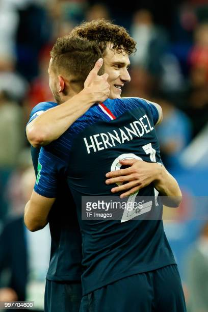 Lucas Hernandez of France and Benjamin Pavard of France celebrate after winning the 2018 FIFA World Cup Russia Semi Final match between France and...