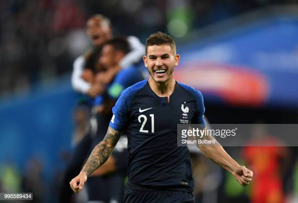 Lucas Hernandez of France celebrates following his sides victory in the 2018 FIFA World Cup Russia Semi Final match between Belgium and France at...
