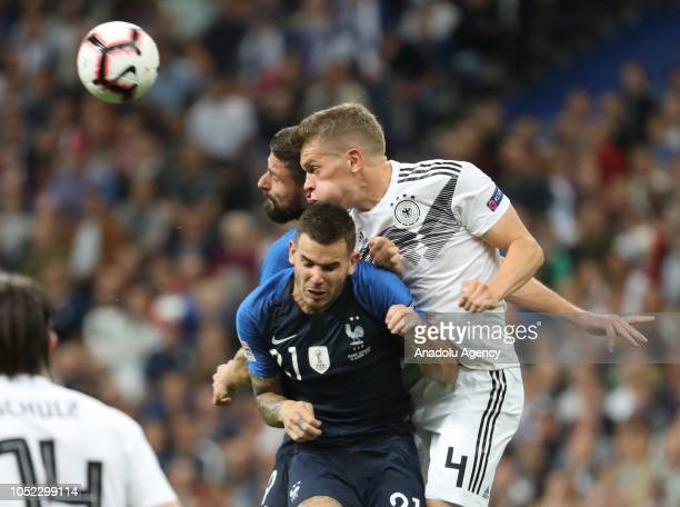 Lucas Hernandez of France in action against Ginter of Germany during the UEFA Nations League A Group 1 match between France and Germany at Stade de...