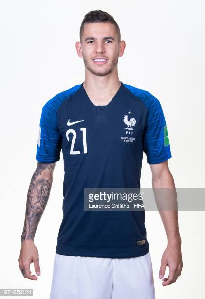 Lucas Hernandez of France poses for a portrait during the official FIFA World Cup 2018 portrait session at the Team Hotel on June 11 2018 in Moscow...