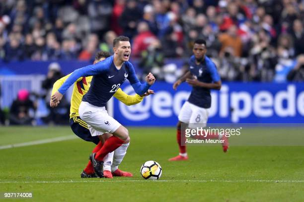 Lucas Hernandez of France runs with the ball during the international friendly match between France and Colombia at Stade de France on March 23 2018...