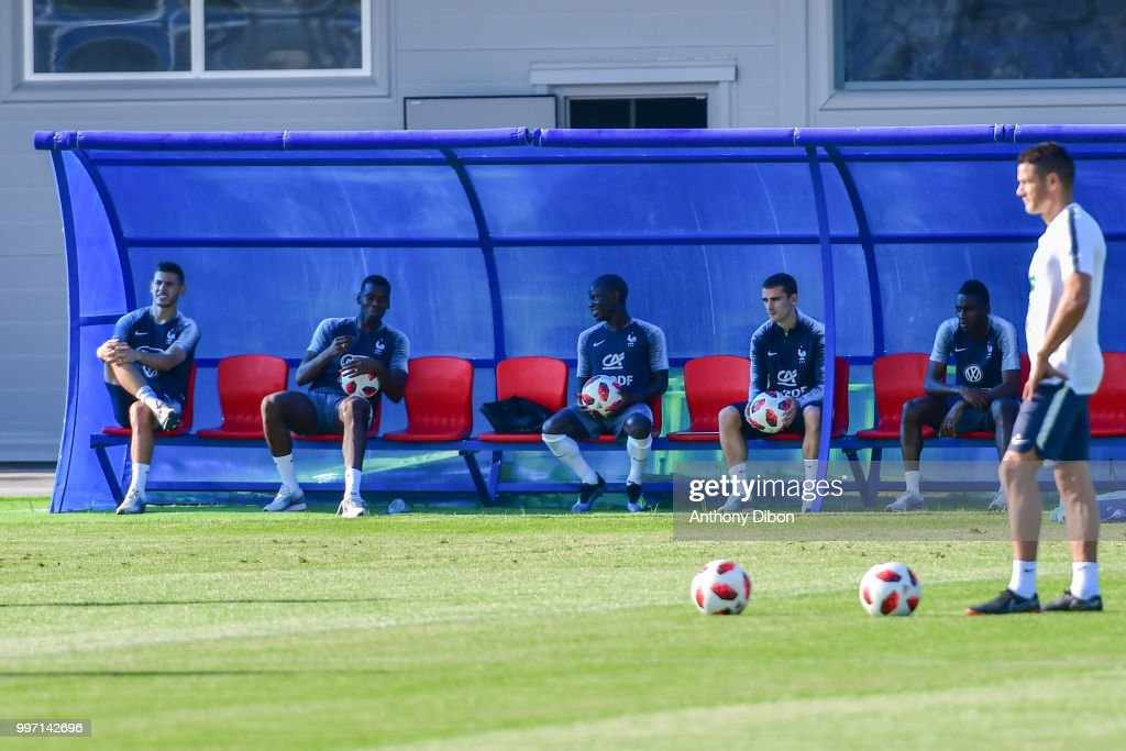 Lucas Hernandez, Paul Pogba, Ngolo KAnte, Antoine Griezmann and Blaise Matuidi of France during the training France on July 12, 2018 in Moscow, Russia.
