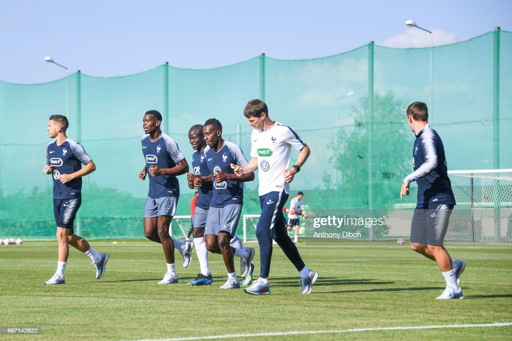 Lucas Hernandez, Paul Pogba, Ngolo Kante, Blaise Matuidi, Gregory Dupont and Antoine Griezmann of France during the training France on July 12, 2018 in Moscow, Russia.