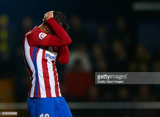 Lucas Hernandez Pi of Atletico de Madrid reacts during the La Liga match between Villarreal CF and Atletico de Madrid at El Madrigal on December 12...
