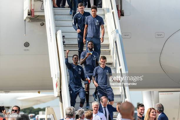 Lucas Hernandez Raphael Varane Samuel Umtiti Ousmane Dembele and Antoine Griezmann of France during the arrival at Airport Roissy Charles de Gaulle...