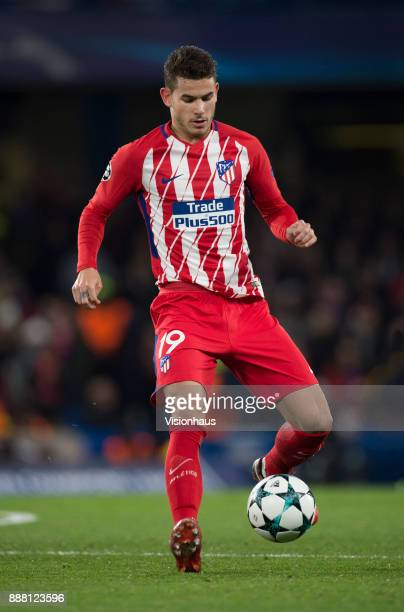 Lucas Hernández of Atletico Madrid in action during the UEFA Champions League group C match between Chelsea FC and Atletico Madrid at Stamford Bridge...