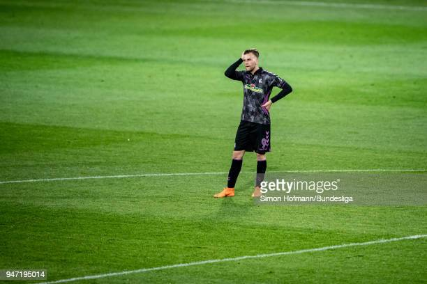 Lucas Hoeler of Freiburg is disappointed during the Bundesliga match between 1 FSV Mainz 05 and SportClub Freiburg at Opel Arena on April 16 2018 in...