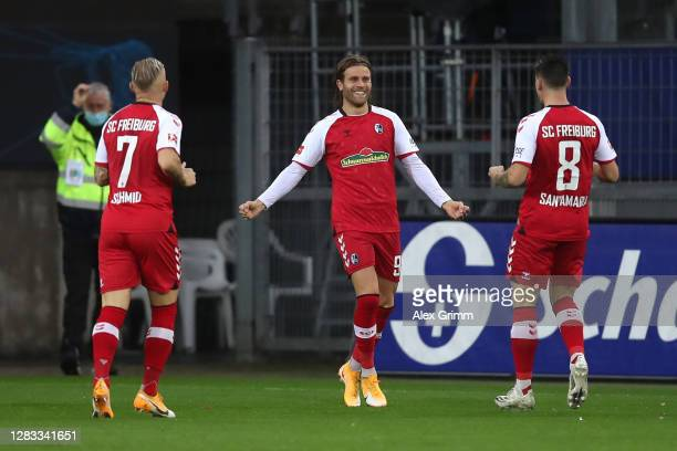 Lucas Hoeler of SC Freiburg celebrates after scoring his team's first goal during the Bundesliga match between Sport-Club Freiburg and Bayer 04...