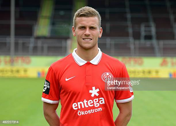 Lucas Hoeler poses during the team presentation of 1 FSV Mainz 05 II at Bruchwegstadion on July 16 2014 in Mainz Germany