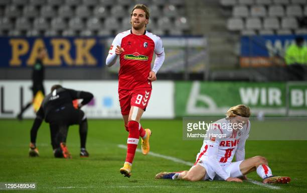 Lucas Holer of Sport-Club Freiburg celebrates after scoring his team's fifth goal during the Bundesliga match between Sport-Club Freiburg and 1. FC...