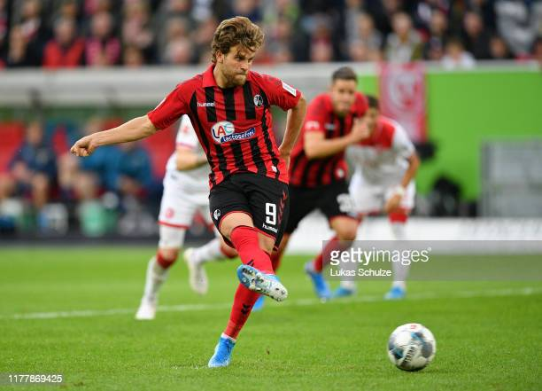 Lucas Holer of Sport-Club Freiburg misses a penalty during the Bundesliga match between Fortuna Duesseldorf and Sport-Club Freiburg at Merkur...