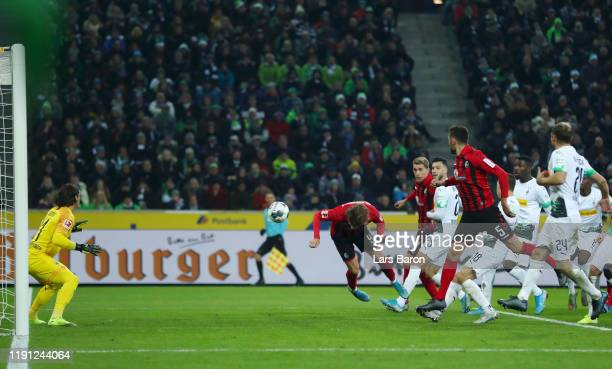 Lucas Holer of Sport-Club Freiburg scores his sides second goal during the Bundesliga match between Borussia Moenchengladbach and Sport-Club Freiburg...