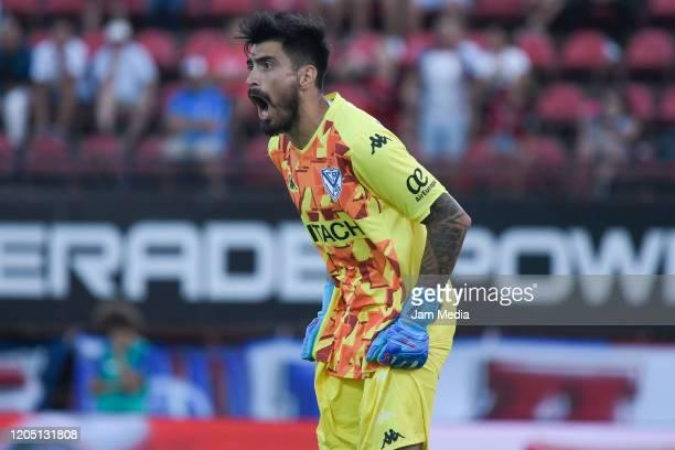Lucas Hoyos goalkeeper of Velez Sarsfield reacts during a match between San Lorenzo and Velez as part of Superliga 2019/20 at Pedro Bidegain Stadium...