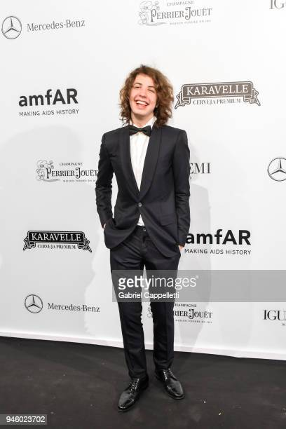 Lucas Jagger attends the 2018 amfAR gala Sao Paulo at the home of Dinho Diniz on April 13 2018 in Sao Paulo Brazil