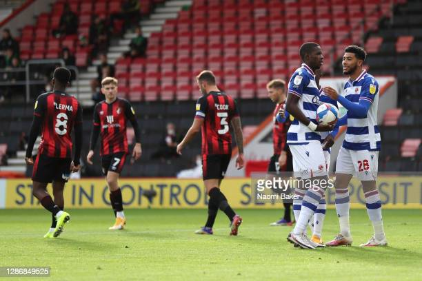 Lucas Joao and Josh Laurent of Reading FC react as Lucas Joao prepares to take a penalty during the Sky Bet Championship match between AFC...