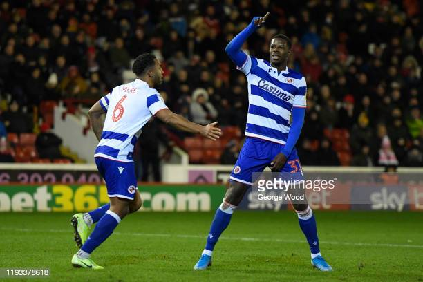 Lucas Joao of Reading celebrates after scoring his sides first goal during the Sky Bet Championship match between Barnsley and Reading at Oakwell...