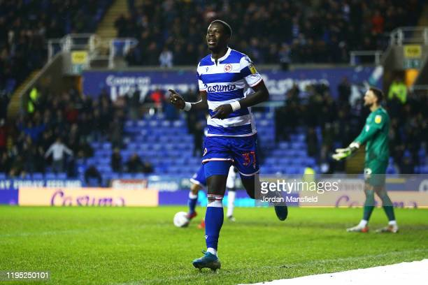 Lucas Joao of Reading celebrates scoring his sides second goal during the Sky Bet Championship match between Reading and Derby County at Madejski...
