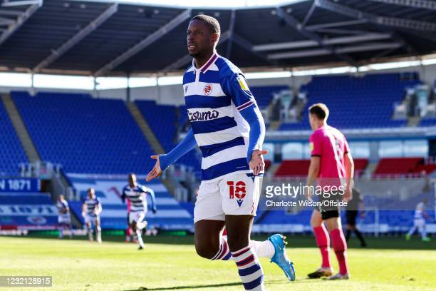 Lucas Joao of Reading celebrates scoring their 3rd goal during the Sky Bet Championship match between Reading and Derby County at Madejski Stadium on...