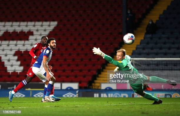 Lucas Joao of Reading FC scores his team's fourth goal during the Sky Bet Championship match between Blackburn Rovers and Reading at Ewood Park on...