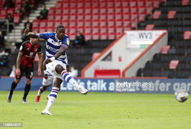 Lucas Joao of Reading FC scores their team's first goal from the penalty spot during the Sky Bet Championship match between AFC Bournemouth and...