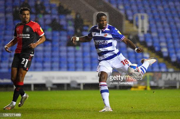 Lucas Joao of Reading scores their side's first goal during the Sky Bet Championship match between Reading and Coventry City at Madejski Stadium on...