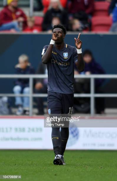 Lucas Joao of Sheffield Wednesday celebrates after scoring his team's first goal during the Sky Bet Championship match between Bristol City and...