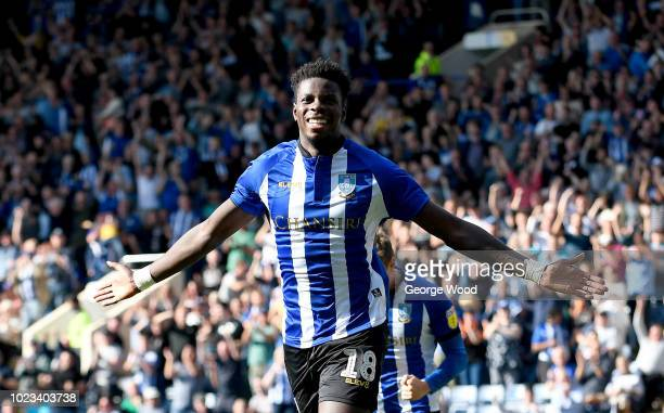 Lucas Joao of Sheffield Wednesday celebrates scoring his sides second goal during the Sky Bet Championship match between Sheffield Wednesday and...