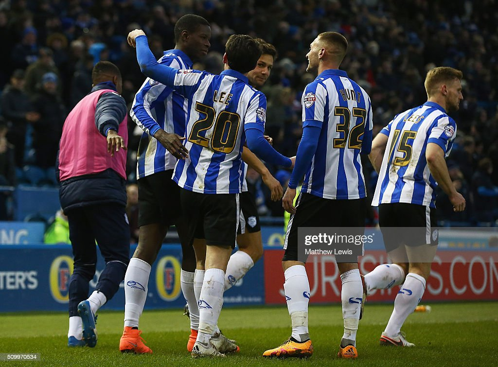Lucas Joao of Sheffield Wednesday is congratulated on his goal during the Sky Bet Championship match between Sheffield Wednesday and Brentford at Hillsborough Stadium on February 13, 2016 in Sheffield, United Kingdom.