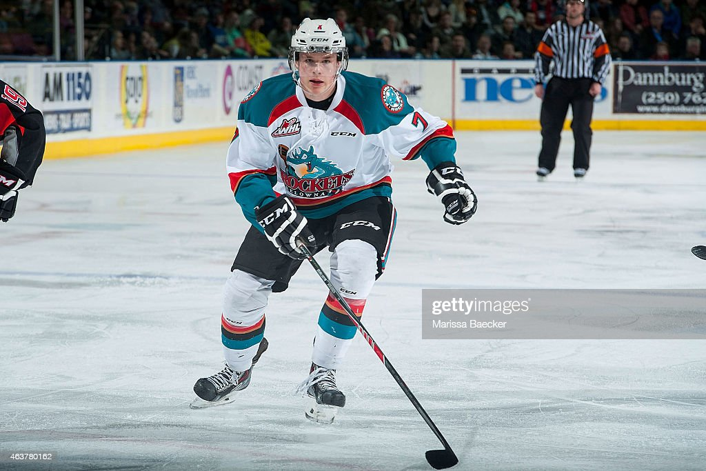 Lucas Johansen #7 of Kelowna Rockets skates against the Moose Jaw Warriors on February 14, 2015 at Prospera Place in Kelowna, British Columbia, Canada. Johansen is the younger brother of NHLer Ryan Johansen.