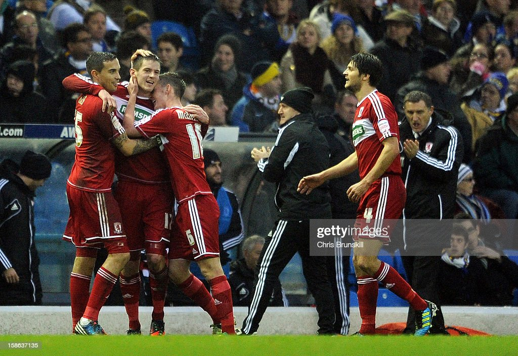 Lucas Jutkiewicz of Middlesbrough is congratulated by his team-mates after scoring the opening goal during the npower Championship match between Leeds United and Middlesbrough at Elland Road on December 22, 2012 in Leeds, England.