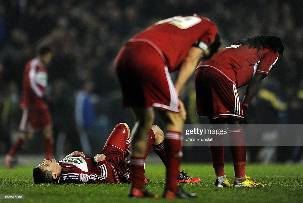 Lucas Jutkiewicz (L) of Middlesbrough looks dejected at full-time following the npower Championship match between Leeds United and Middlesbrough at Elland Road on December 22, 2012 in Leeds, England.