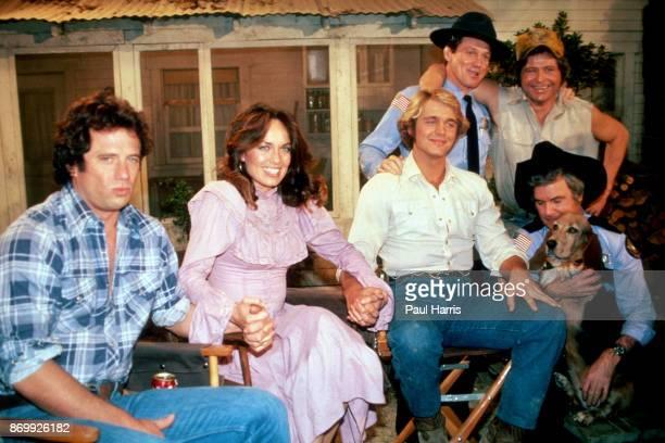 """Lucas K. """"Luke"""" Duke Daisy Duke and Beauregard """"Bo"""" Duke and others film the last episode of the The Dukes of Hazzard at CBS Studious, Los Angeles..."""