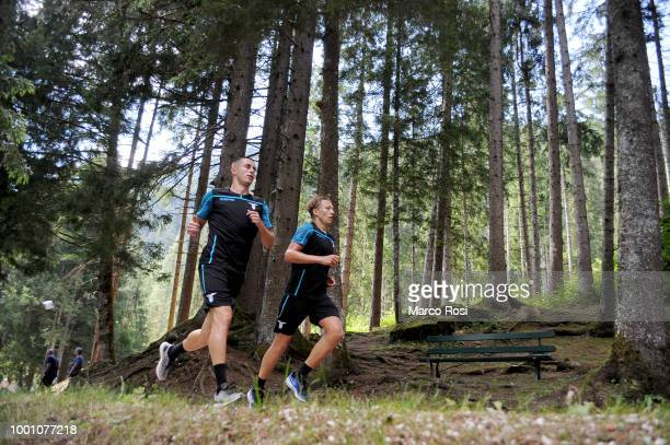 Pedro Neto Lucas Leiva and Adam Marusic of SS Lazio during the SS Lazio preseason training camp on July 18 2018 in Auronzo di Cadore nearBelluno Italy