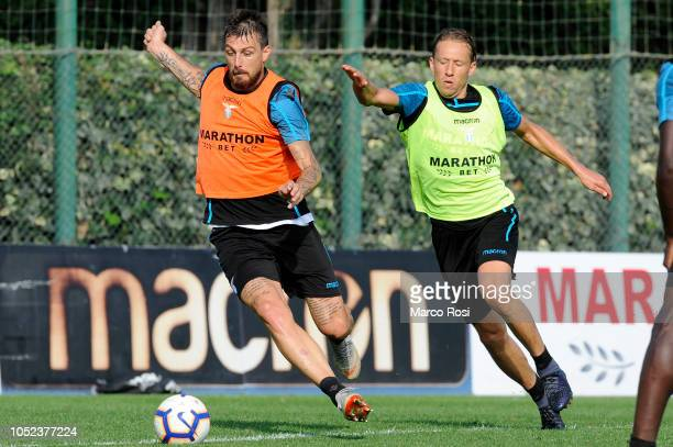 Lucas Leiva and Francesco Acerbi of SS Lazio in action SS Lazio training session on October 17 2018 in Rome Italy