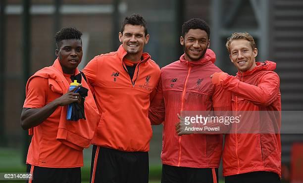 Lucas Leiva Dejan Lovren Sheyi Ojo and Joe Gomez of Liverpool during a training session at Melwood Training Ground on November 14 2016 in Liverpool...