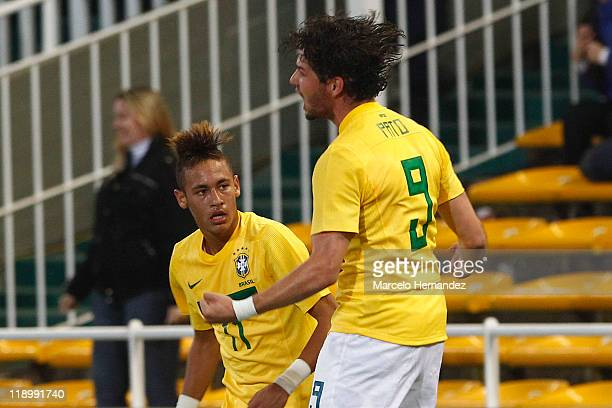 Lucas Leiva of Brazil celebrates his goal against Ecuador during a match as part of Group B of Copa America 2011 at the Mario Kempes Stadium on July...