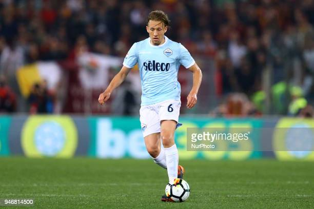 Lucas Leiva of Lazio during the serie A match between SS Lazio and AS Roma at Stadio Olimpico on April 15 2018 in Rome Italy