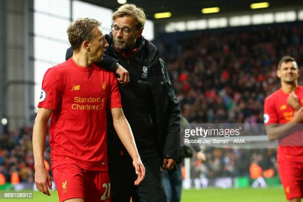 Lucas Leiva of Liverpool and Jurgen Klopp manager / head coach of Liverpool at full time during the Premier League match between West Bromwich Albion...