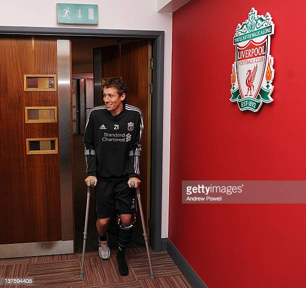 Lucas Leiva of Liverpool arrives at Melwood training ground for the first time since his injury on January 23 2012 in Liverpool England