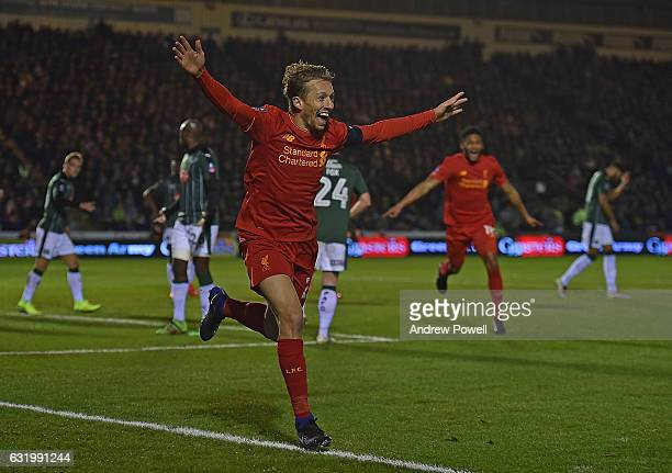 Lucas Leiva of Liverpool celebrates after scoring during the Emirates FA Cup Third Round replay match between Plymouth Argyle and Liverpool at Home...