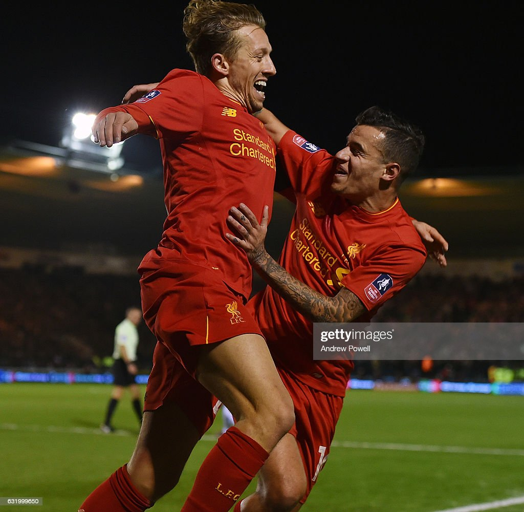 Lucas Leiva of Liverpool celebrates after scoring during the Emirates FA Cup Third Round replay match between Plymouth Argyle and Liverpool at Home Park on January 18, 2017 in Plymouth, England.