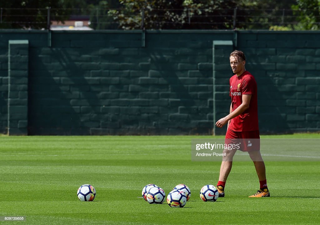 Lucas Leiva of Liverpool during a training session at Melwood Training Ground on July 6, 2017 in Liverpool, England.