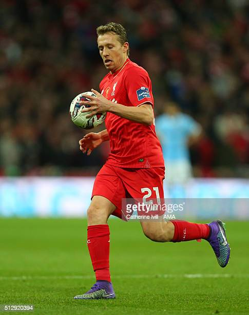 Lucas Leiva of Liverpool during the Capital One Cup Final match between Liverpool and Manchester City at Wembley Stadium on February 28 2016 in...