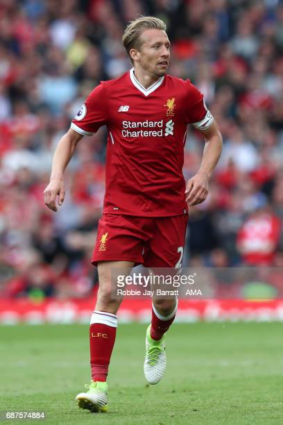 Lucas Leiva of Liverpool during the Premier League match between Liverpool and Middlesbrough at Anfield on May 21 2017 in Liverpool England