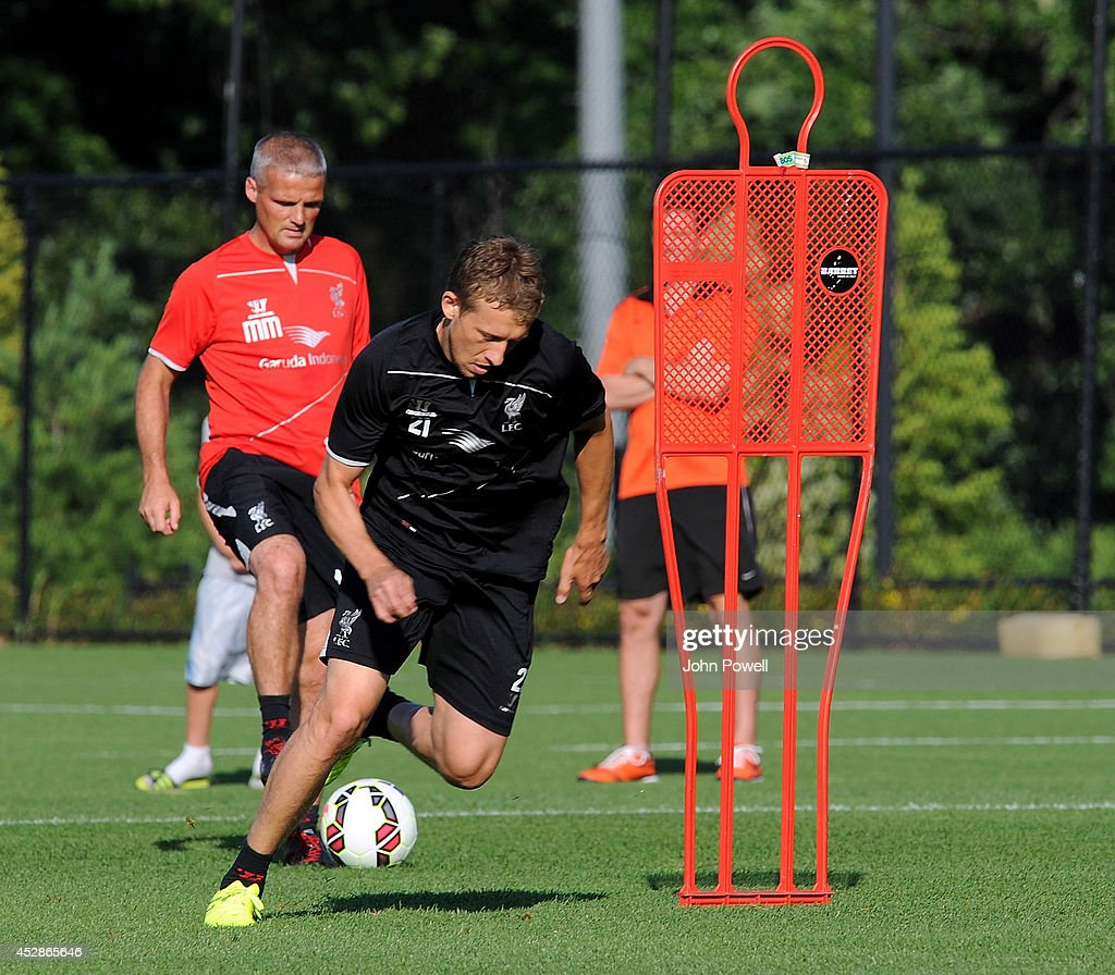 Lucas Leiva of Liverpool in action during a training session at Princeton University on July 28, 2014 in Princeton, New Jersey.