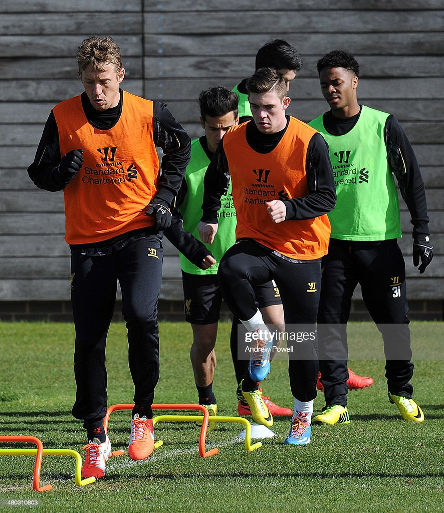 Lucas Leiva of Liverpool in action during a training session at Melwood Training Ground on March 24, 2014 in Liverpool, England.
