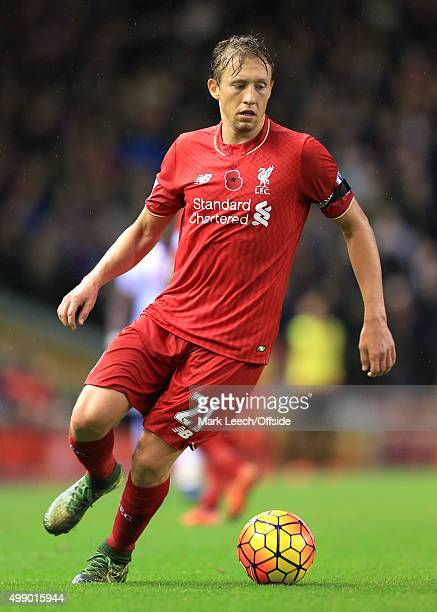 Lucas Leiva of Liverpool in action during the Barclays Premier League match between Liverpool and Crystal Palace at Anfield on November 8 2015 in...