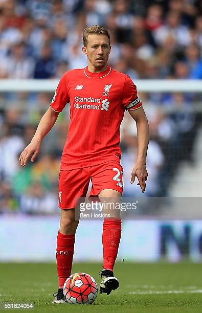 Lucas Leiva of Liverpool in action during the Barclays Premier League match between West Bromwich Albion and Liverpool at The Hawthorns on May 15...